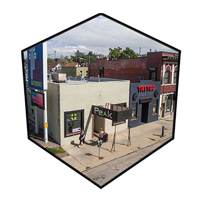 Downtown dispensary in Denver, Colorado for CBD concentrates, edibles, and creams for pain.